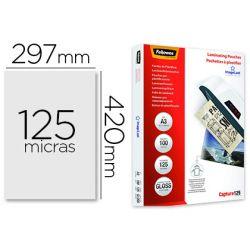 BOLSA DE PLASTIFICAR FELLOWES BRILLO DIN A3 125 MICRAS PACK DE 100 UNIDADES