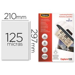 BOLSA DE PLASTIFICAR FELLOWES BRILLO DIN A4 125 MICRAS PACK DE 25 UNIDADES