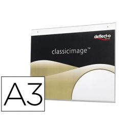 EXPOSITOR MURAL DEFLECTO CLASSIC IMAGE DIN A3 HORIZONTAL TRANSPARENTE 420X330X7 MM