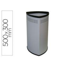 PARAGUERO METALICO SIE TRIANGULAR 50X30 CM GRIS ARO INFERIOR PVC NEGRO