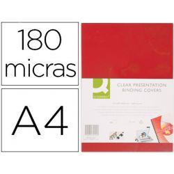 TAPA DE ENCUADERNACION Q-CONNECT PVC DIN A4 OPACA ROJO 180 MICRAS CAJA DE 100 UNIDADES