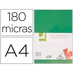 TAPA DE ENCUADERNACION Q-CONNECT PVC DIN A4 OPACA VERDE 180 MICRAS CAJA DE 100 UNIDADES