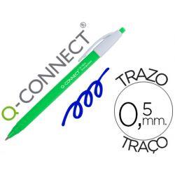 BOLIGRAFO Q-CONNECT RETRACTIL KF14625 BIODEGRADABLE VERDE TINTA AZUL