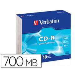 CD-ROM VERBATIM EXTRA PROTECCION CAPACIDAD 700MB VELOCIDAD 52X 80 MIN