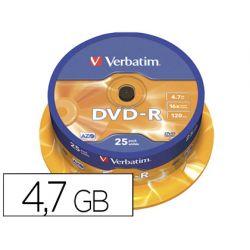 DVD-R VERBATIM CAPACIDAD 4.7GB VELOCIDAD 16X 120 MIN