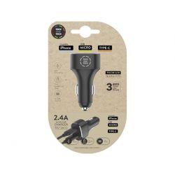 CARGADOR TECH ONE TECH 2.4 COCHE MECHERO DOBLE PARA IPHONE / USB MICRO / TYPE-C COLOR NEGRO