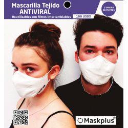 Mascarilla Maskplus Adulto profesional con 10 filtros de papel (color negro)