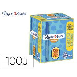 BOLIGRAFO PAPER MATE INKJOY 100 PUNTA MEDIA TRAZO 1 MM AZUL PACK DE 80 + 20 UNIDADES