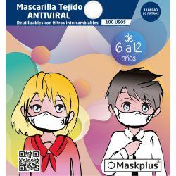 Mascarilla Maskplus Kids 6-12 años con 10 filtros de papel (Blanca)