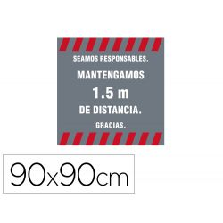 ALFOMBRA PARA SUELO DE PASO NOVUS SEAMOS RESPONSABLES MANTEGAMOS 1,5 M DE DISTANCIA FONDO GRIS 90X90