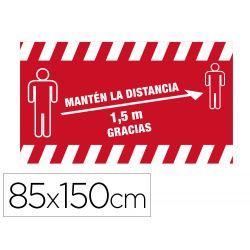 ALFOMBRA PARA SUELO DE PASO NOVUS MANTEN DISTANCIA DE 1,5 M GRACIAS FONDO ROJO 85X150 CM