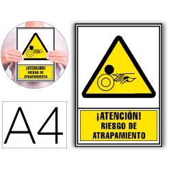 PICTOGRAMA ARCHIVO 2000 ATENCION RIESGO DE ATRAPAMIENTO PVC AMARILLO LUMINISCENTE 210X297 MM