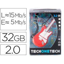 MEMORIA USB TECH ON TECH GUITARRA RED ONE 32 GB