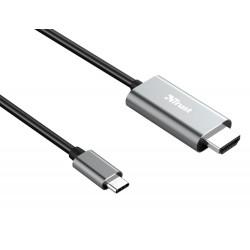 CABLE TRUST CALYX ADAPTADOR USB-C A HDMI LONGITUD 1,8 M COLOR NEGRO