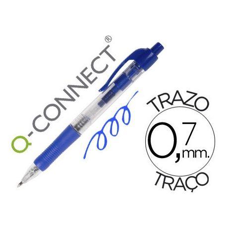 BOLIGRAFO Q-CONNECT AZUL RETRACTIL -CON SUJECION DE CAUCHO