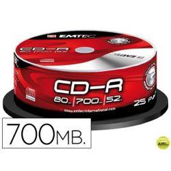 CD-R EMTEC CAPACIDAD 700MB DURACION 80MIN VELOCIDAD 52X BOTE 25 UNIDADES