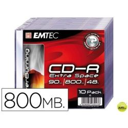 CD-R EMTEC CAPACIDAD 800MB DURACION 90MIN VELOCIDAD 48X CAJA SLIM -1 UNIDAD-