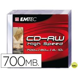 CD-RW EMTEC CAPACIDAD 700MB DURACION 80MIN VELOCIDAD 4X-10X REGRABABLE CAJA -1 UNIDAD-