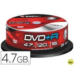 DVD+R EMTEC CAPACIDAD 4,7GB VELOCIDAD 16X BOTE 25 UNIDADES