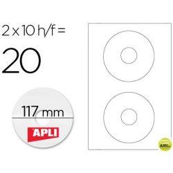 ETIQUETA ADHESIVA APLI 10603 TAMAÑO CD-ROM 117 MM PARA FOTOCOPIADORA LASER INK-JET CAJA CON 10 HOJAS