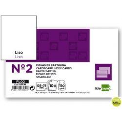 FICHA LIDERPAPEL LISA N.2 75 X 125MM PAQUETE DE 100 180G