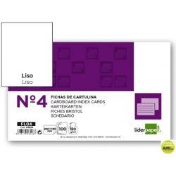 FICHA LIDERPAPEL LISA N.4 125X200MM PAQUETE DE 100 180G