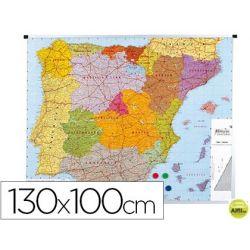 MAPA MURAL PARA SEÑALIZACION ESPAÑA 130X100 CM PLASTIFICADO-MARCO DE ALUMINIO
