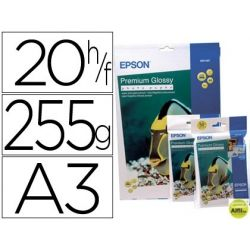 PAPEL EPSON PREMIUM GLOSSY PHOTO PAPER A3 (20HOJAS) 255GR. 255 GR.