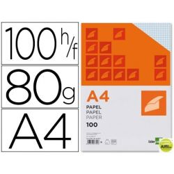 PAPEL LIDERPAPEL A4 80G/M2 PAQUETE DE 100 SIN TALADROS CUADRO 4MM