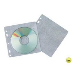 SOBRE PARA 2 CD Q-CONNECT POLIPROPILENO CON SOLAPA MULTITALADRO Y FORRO PROTECTOR