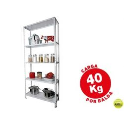 ESTANTERIA METALICA AR STORAGE170X75X30 CM 5 ESTANTES 40 KG POR ESTANTE COLOR BLANCO