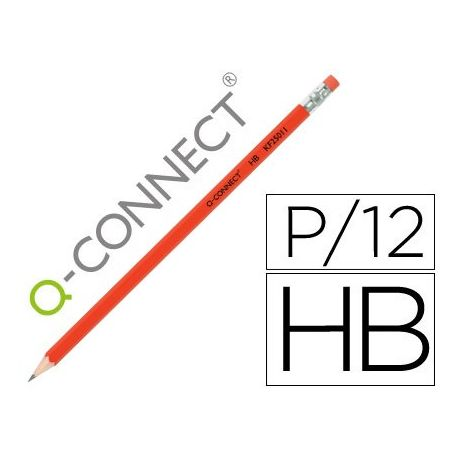 LAPICES DE GRAFITO Q-CONNECT HEXAGONAL CON GOMA N.2 HB
