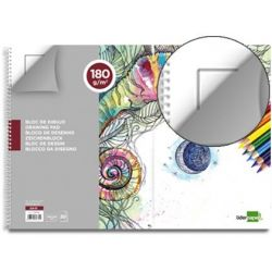 BLOC DIBUJO LIDERPAPEL ARTISTICO ESPIRAL 460X325MM 20 HOJAS 180 G/M2 CON RECUADRO