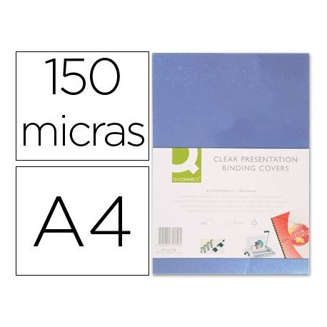 TAPA DE ENCUADERNACION Q-CONNECT PVC DIN A4 INCOLORA 150 MC