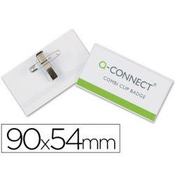 IDENTIFICADOR CON PINZA E IMPERDIBLE Q-CONNECT KF01567 -54X90 MM.