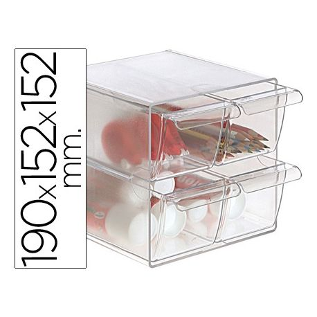ARCHICUBO ARCHIVO 2000 4 CAJONES ORGANIZADOR MODULAR PLASTICO 190X152X152 MM INCLUYE 2 CLIPS DE SUJE