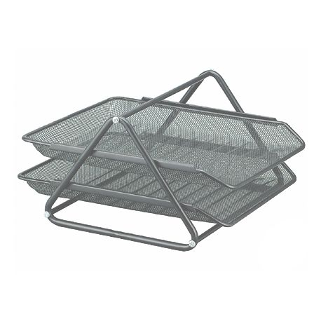BANDEJA SOBREMESA METALICA Q-CONNECT REJILLA GXA100 GRIS 2 BANDEJAS MOVIBLES -300X185X 350 MM