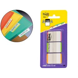 BANDERITA SEPARADORES RIGIDAS DISPENSADOR 3 COLORES POST-IT INDEX 686L-PGO CON BANDA BLANCA PARA ESC