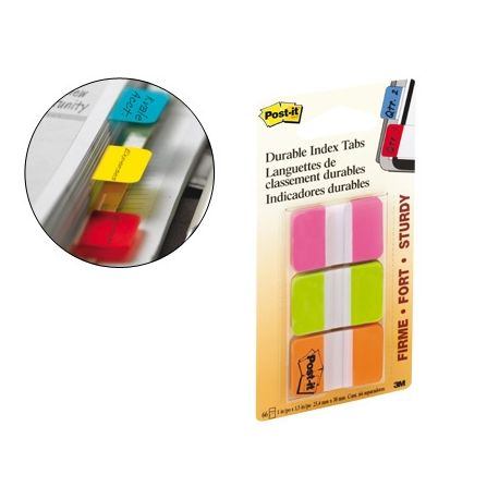BANDERITAS SEPARADORAS RIGIDASDISPENSADOR 3 COLORES POST-IT INDEX 686-PGO MEDIANOS22 BANDERITAS POR