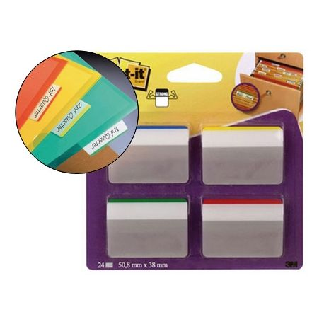 BANDERITAS SEPARADORAS RIGIDASDISPENSADOR 4 COLORES POST-IT INDEX 686A-1 GRANDES 24 BANDERITAS