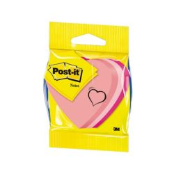 BLISTER PAPELERIA 3M 2007H CUBO DE NOTAS POST-IT TROQUELADO CORAZON 3 COLORES NEON