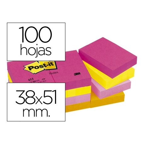 BLOC DE NOTAS ADHESIVAS QUITA Y PON POST-IT 38X51 MM NEON PACK DE 12 BLOCS SURTIDO