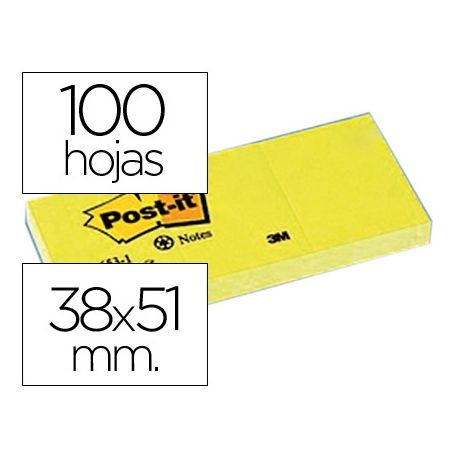 BLOC DE NOTAS ADHESIVAS QUITA Y PON POST-IT 38X51 MM PAPEL RECICLADO AMARILLO PACK DE 3 BLOCS 653-1