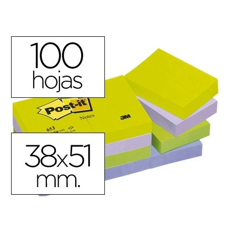 BLOC DE NOTAS ADHESIVAS QUITA Y PON POST-IT 38X51 MM ULTRA INTENSO SURTIDO PACK DE 12 BLOCS