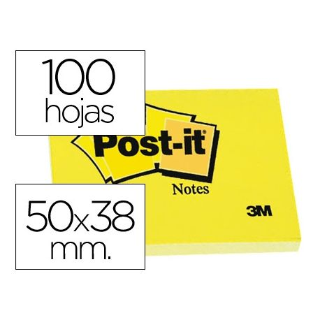 BLOC DE NOTAS ADHESIVAS QUITA Y PON POST-IT 50X38 MM CON 100HOJAS 653E