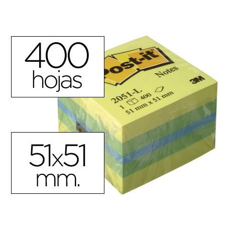 BLOC DE NOTAS ADHESIVAS QUITA Y PON POST-IT 51X51 MM MINICUBO COLOR LIMON 2051-L 400 HOJAS