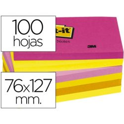 BLOC DE NOTAS ADHESIVAS QUITA Y PON POST-IT 76X127 MM NEON PACK DE 6 BLOCS SURTIDO