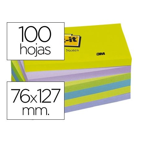 BLOC DE NOTAS ADHESIVAS QUITA Y PON POST-IT 76X127 MM ULTRA INTENSO PACK DE 6 BLOCS SURTIDO