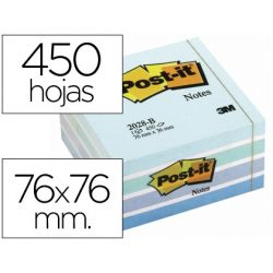 BLOC DE NOTAS ADHESIVAS QUITA Y PON POST-IT 76X76 MM CUBO COLOR AZUL PASTEL 450 HOJAS