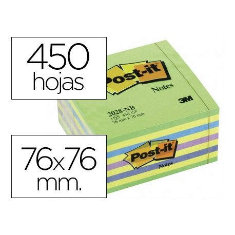 BLOC DE NOTAS ADHESIVAS QUITA Y PON POST-IT 76X76 MM CUBO COLOR AZUL Y VERDE 450 HOJAS